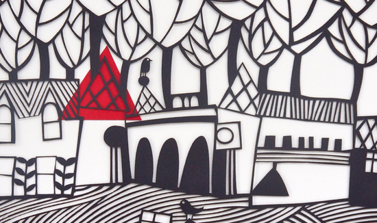 paper cut artist Caroline Rees, work in progress
