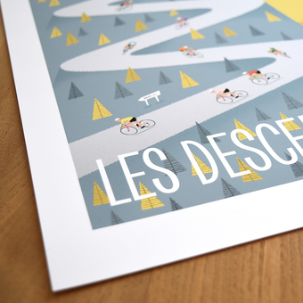 Detail from Descenders Cycling Art Print