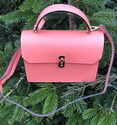 Italian leather peach shoulder bag in satchel style