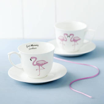 flamingo tea cup