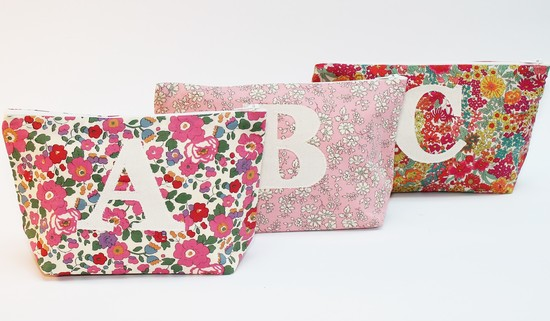 Liberty Print Initial Make Up Bag