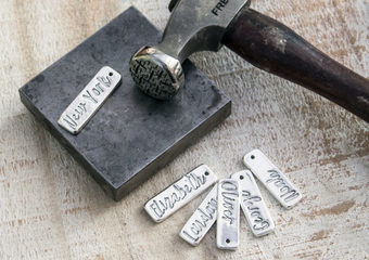 Adding hammer finish to personalised jewellery