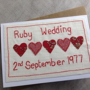 Machine Embroidered Anniversary Card