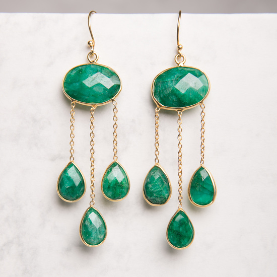 EMERALD LONG TEARDROP GOLD STATEMENT EARRINGS