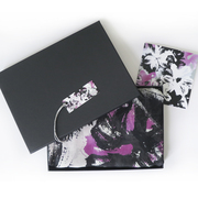 Black and Pink Brushstroke floral with Gift Box and Card