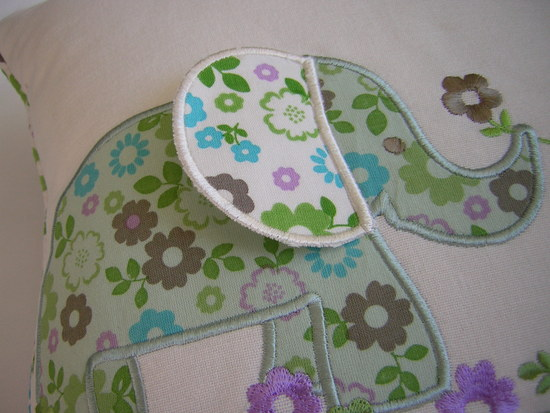 Elephant appliqued cushion