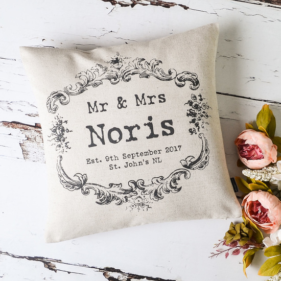 Vintage Style Mr & Mrs Cushion Cover