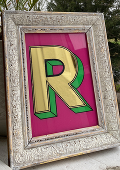 Hand made gold gilded 'R' on glass