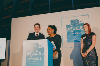 Dearly Beloved collecting their award at the 2016 notonthehighstreet.com make awards