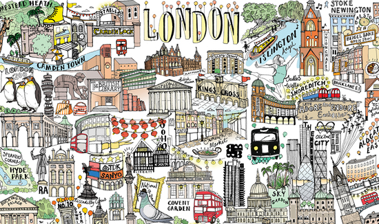 Detail from the illustrated map of London