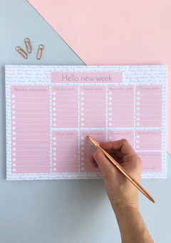 Hello New Week Inspirational Weekly To-Do List A4 Notepad & Desk Planner