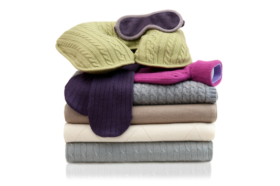 Plum & Ivory cashmere travel accessories