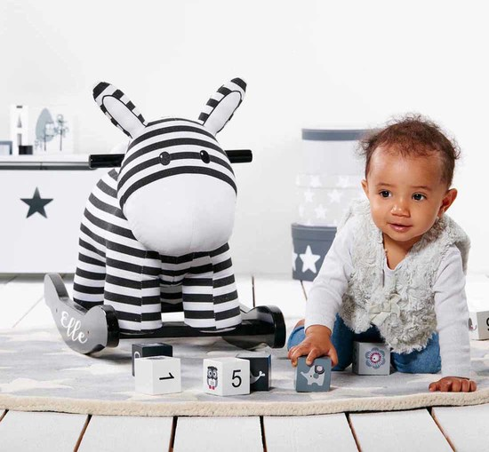 Personalised rocking zebra toy