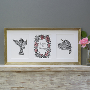 Wedding print pink roses and sparrows