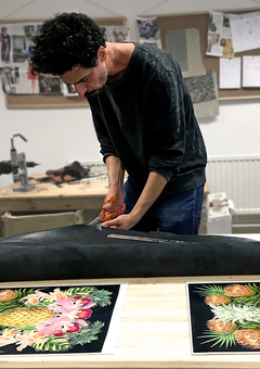 Printed leather expert, Tovi Sorga, in his studio
