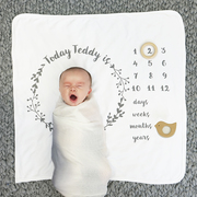 Personalised Baby Age Botanical Milestone Blanket Set