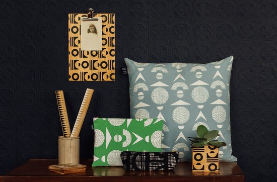 hand printed midcentury cushion