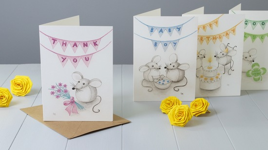 Art Greeting Cards of Bilberry Woods Characters by Yellow Rose Design