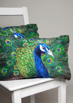 Peacock cushions, handmade silk cushions