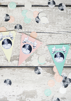Personalised hen bunting and confetti