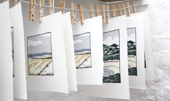 Fiona Carver artist printmaker linocuts drying