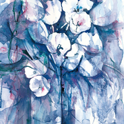 Limited Edition Blue Floral canvas Print
