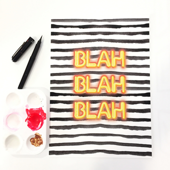neon monochrome wall art print