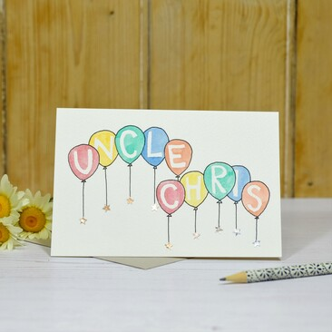 Hand painted balloons card
