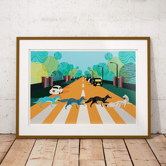 Abbey Road Foxes - The Beatles Illustrated Art Print