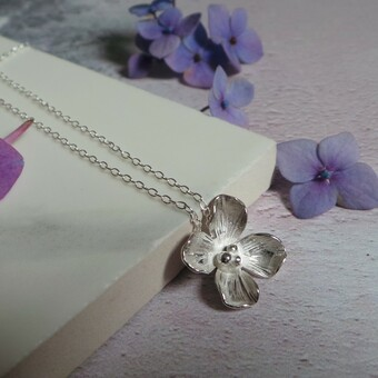 Silver Hydrangea Flower Necklace