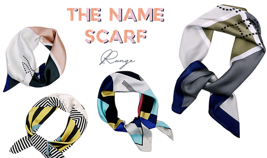 new personalised silky name scarf from studio hop