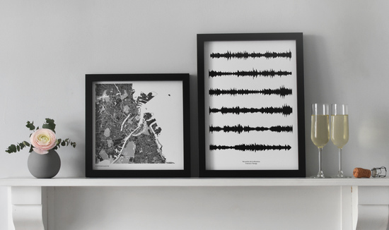 Monochrome Map and Soundwave Prints