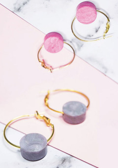 Pink||Grey Marbled Disc Hoop Earrings