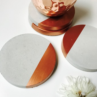 Concrete and copper coaster