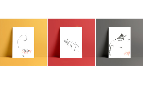 A tryptic of 3 illustrations on a yellow, red and grey background