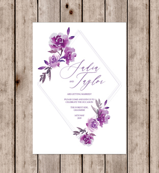 Gorgeous floral personalised wedding invitations