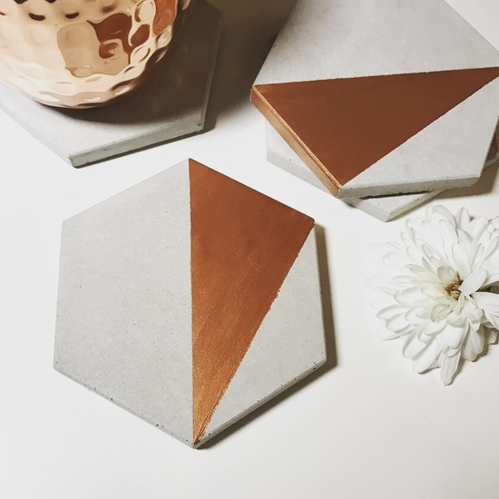 Hexagon concrete coasters