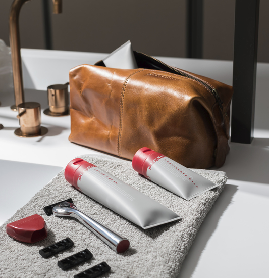 Lifestyle image of gift set and wash bag