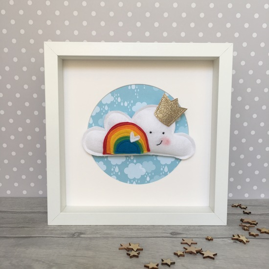 Personalised Rainbow Nuersry New Baby Cloud Frame