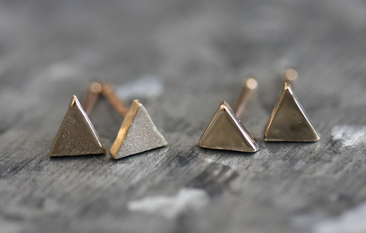Tiny solid gold triangle earrings