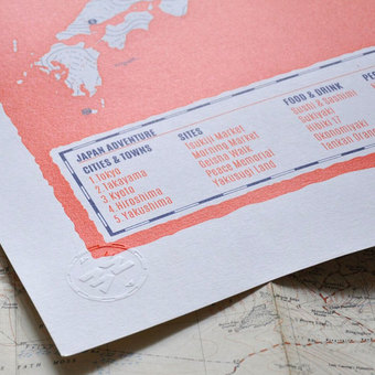 personalised screenprinted travel map