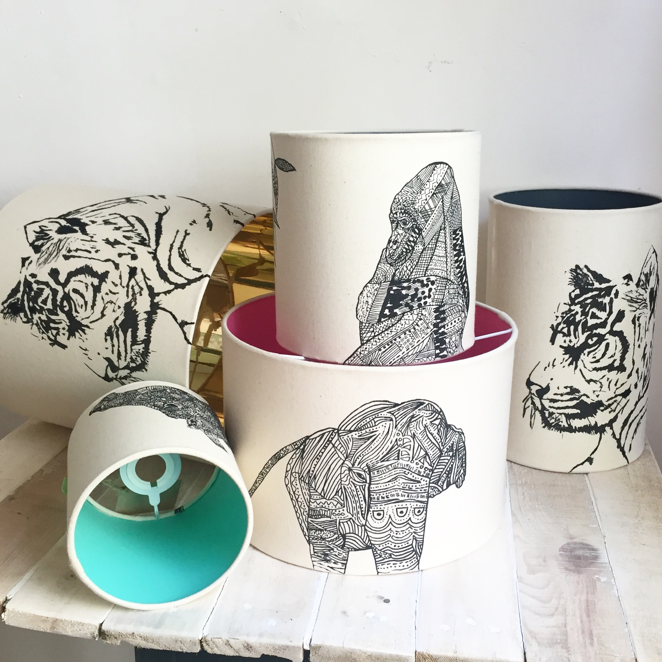Mix and Match animal lampshades