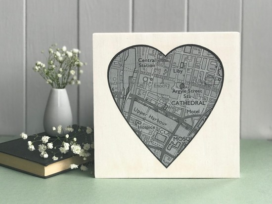 Customised Heart Shaped Map printed on wood