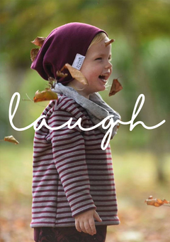 'Laugh' - Teddy Fleece Burgundy Stripe Jumper