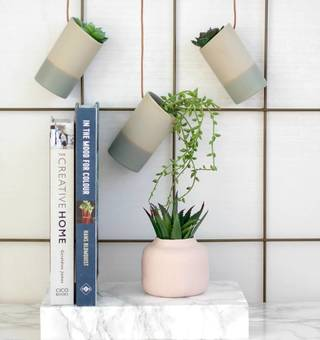 hanging pots with leather straps