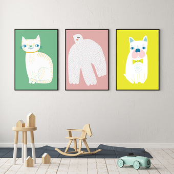 set of 3 animal nursery prints