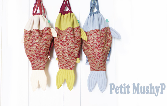 Japanese Drawstring bags designed by Petit MushyP