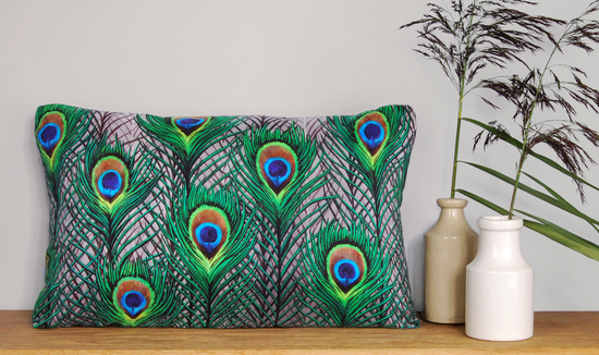 Peacock feathers handmade silk cushion