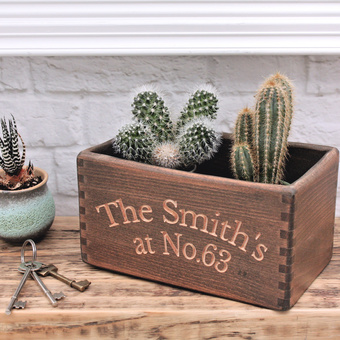 Personalised Carved Wooden Crate