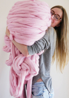 Lauren Aston Designs with Giant wool in Candyfloss Pink